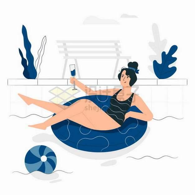 美女端着酒杯躺在游泳池里休闲时光扁平插画png图片素材
