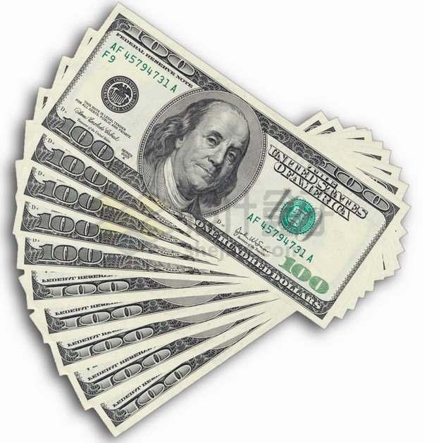 扇形散开的100美元钞票纸币png图片素材