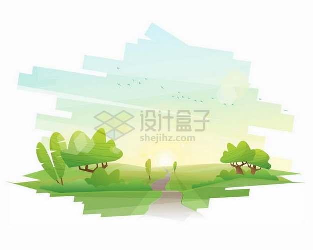 卡通绿色大地草原和树木风景插画png图片素材