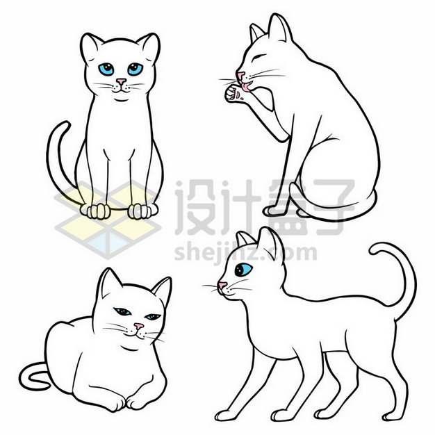 4款蓝眼睛的卡通白色猫咪线条手绘png图片素材