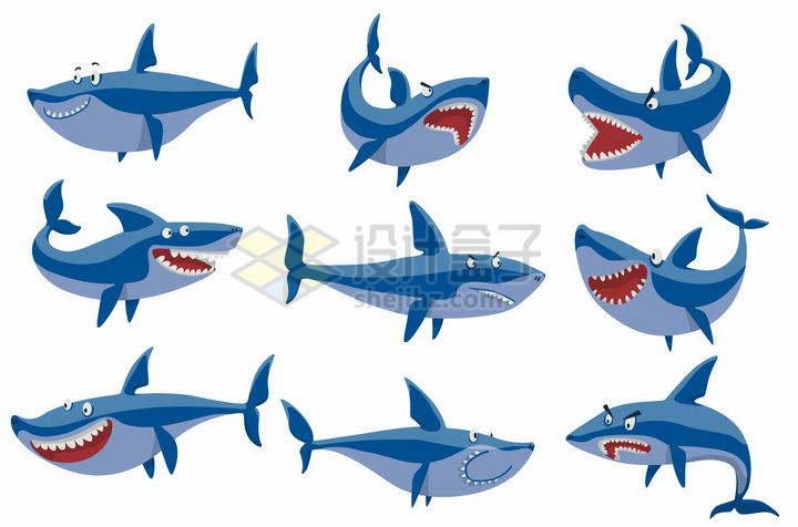 9款可爱的卡通鲨鱼png图片免抠矢量素材