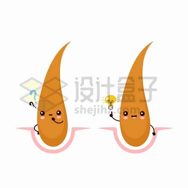 皮肤表面的卡通毛发毛囊png图片素材