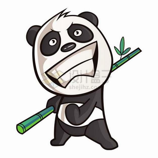卡通熊猫拿着竹子练武png图片免抠矢量素材