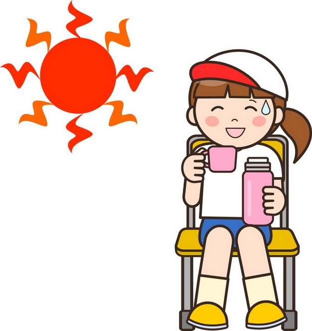高温天气下多喝水的卡通学生png图片素材