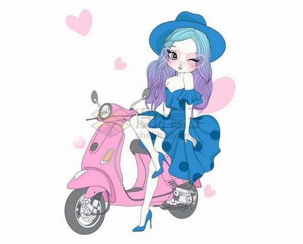靠在粉红色电动车上的卡通少女手绘插画png图片素材