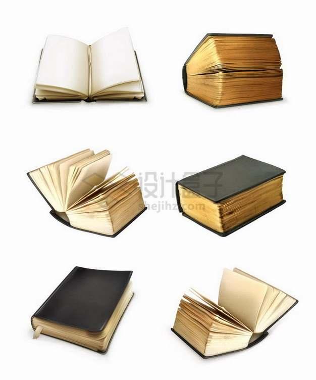 6款复古风格的书本书籍png图片免抠矢量素材