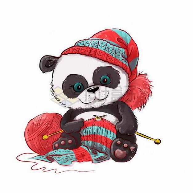 卡通熊猫正在织毛线衣png图片免抠矢量素材