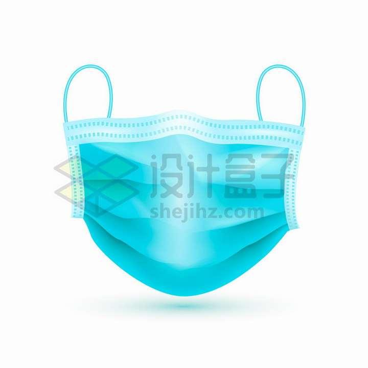 立体蓝色一次性医用口罩正面png图片免抠矢量素材