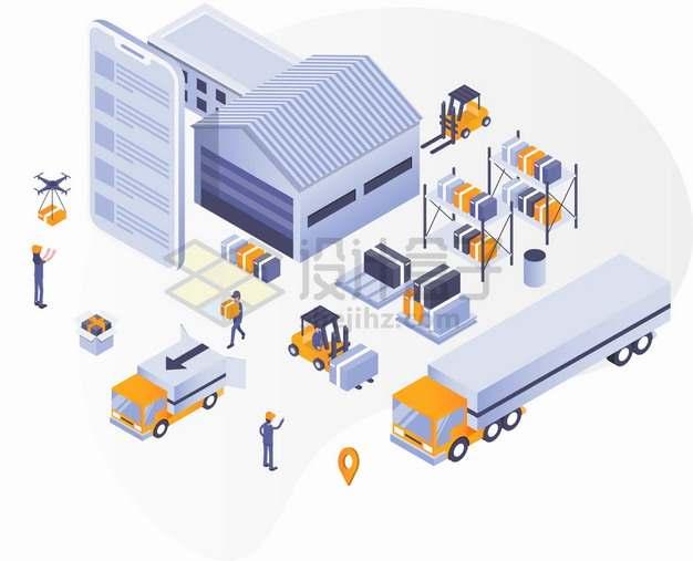 2.5D风格手机仓库叉车和货车象征了物流快递行业png图片素材