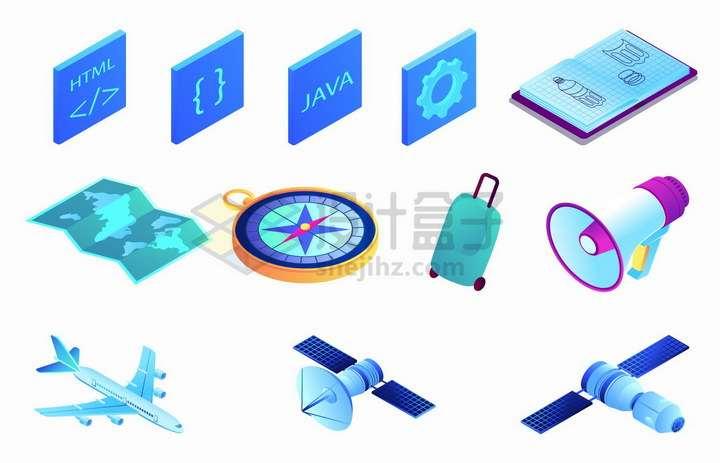 2.5D风格编程语言符号地图指南针行李箱喇叭飞机人造卫星等png图片免抠矢量素材