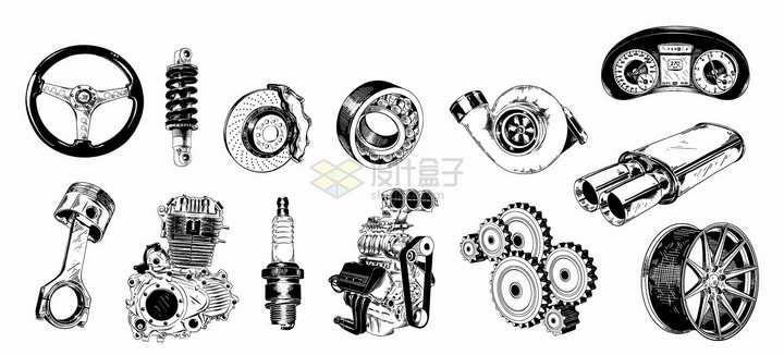 方向盘悬挂系统刹车发动机齿轮等汽车配件手绘插画png图片素材