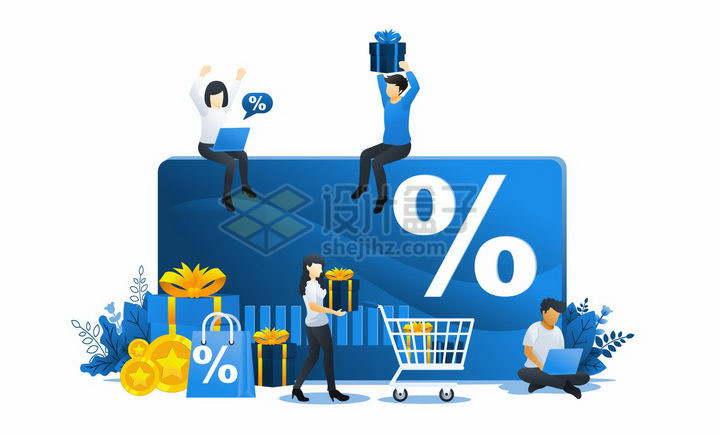 蓝色扁平插画风格在信用卡银行卡上寻找打折商品的年轻人png图片免抠矢量素材