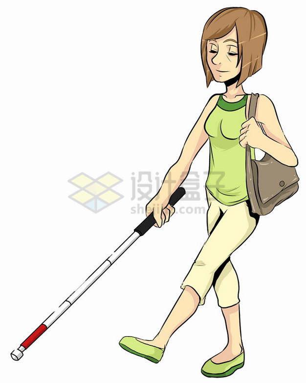 卡通盲人女孩拿着盲丈导盲棍png图片素材