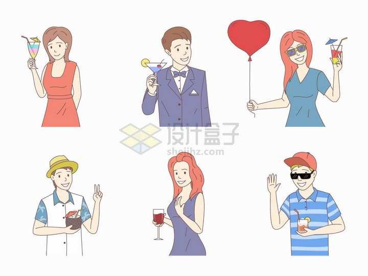 6款热带旅游举杯庆贺的年轻人手绘插画png图片素材
