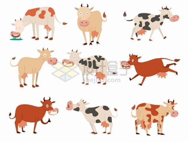 9款卡通母牛奶牛png图片素材