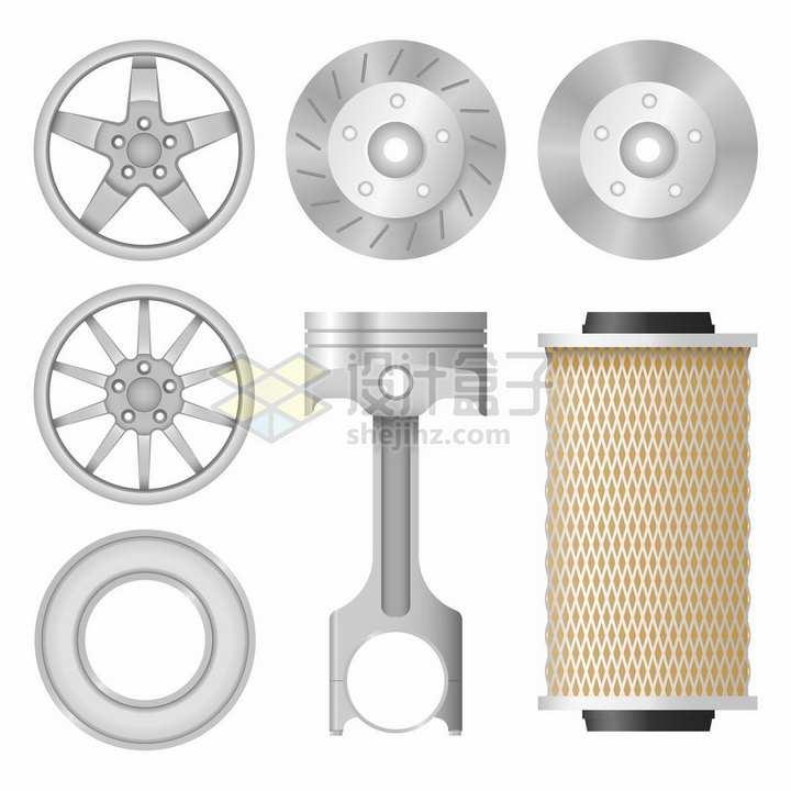 汽车铝合金轮毂刹车片发动机汽缸结构png图片素材