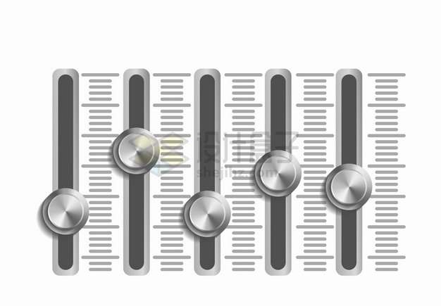 不锈钢金属质感的音乐播放器音量调节键按钮png图片素材