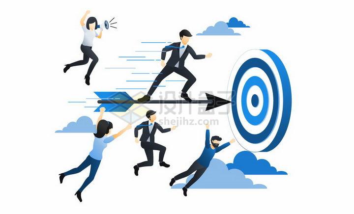 蓝色扁平插画风格瞄准目标靶子射箭的商务人士png图片免抠矢量素材 商务职场-第1张