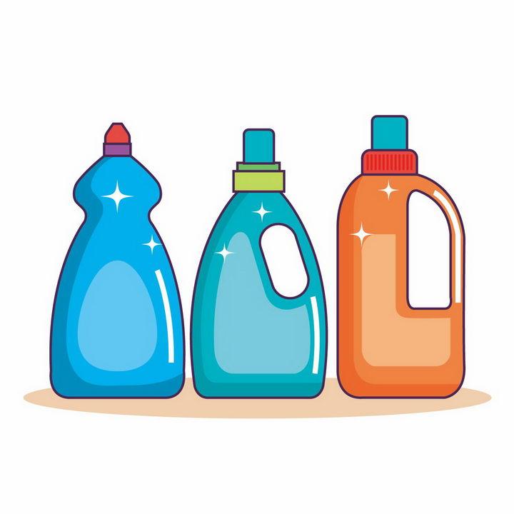 三瓶彩色包装的洗涤剂卫生用品png图片免抠矢量素材 生活素材-第1张