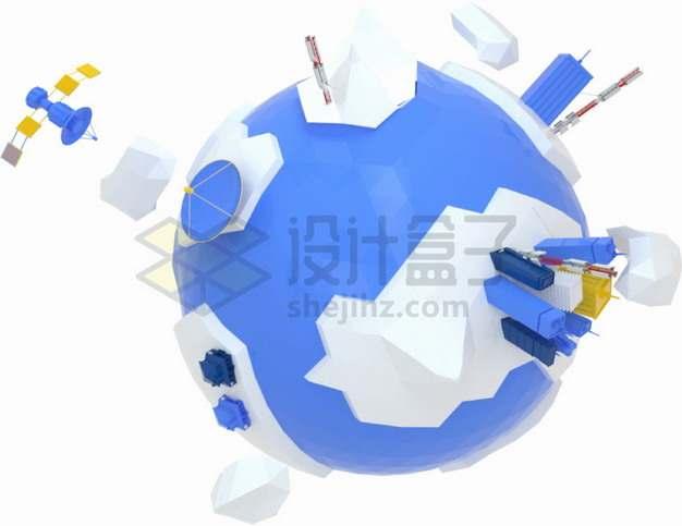 紫色3D地球多边形模型png图片素材