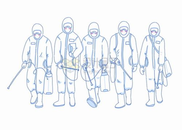 一队全副武装防护服的医护人员医生线条插画png图片素材