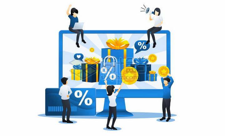 蓝色扁平插画风格在电脑上查看商品促销的年轻人png图片免抠矢量素材