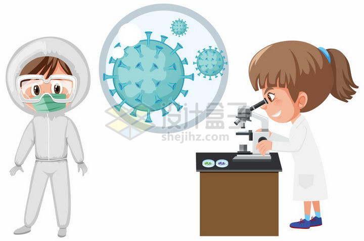 卡通女医生正在研究引发肺炎的新型冠状病毒png图片免抠矢量素材