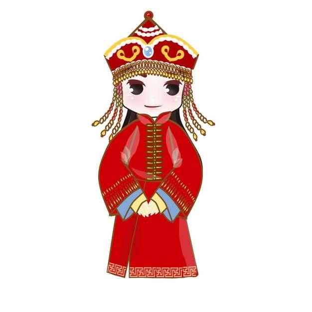 身穿传统服饰的卡通蒙古族少女png图片素材