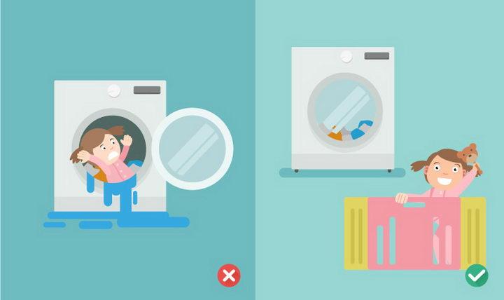 扁平化风格小心孩子跑进洗衣机中png图片免抠矢量素材 生活素材-第1张