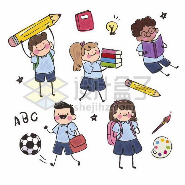 5款卡通学生拿着巨大的铅笔书本书包等手绘儿童插画png图片素材 教育文化-第1张