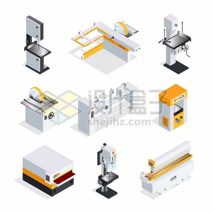 9款2.5D家具厂木材加工厂机械设备png图片素材