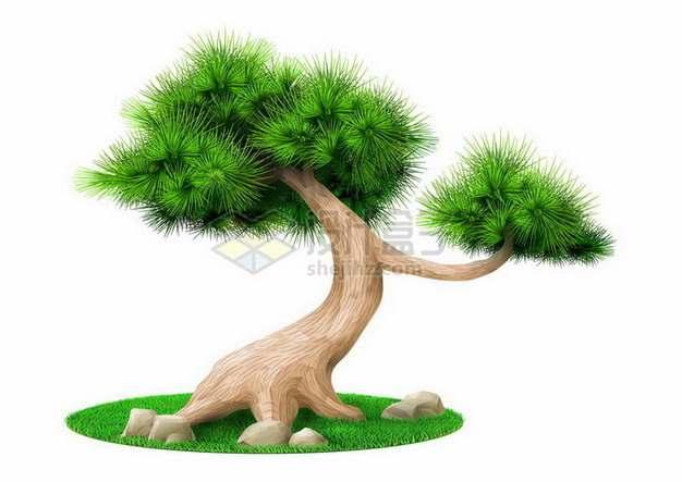 观赏性的松树盆栽植物png图片免抠矢量素材