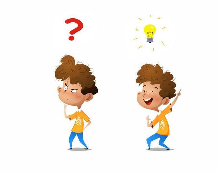 两款卡通男孩产生疑问和解决问题的点子png图片免抠矢量素材