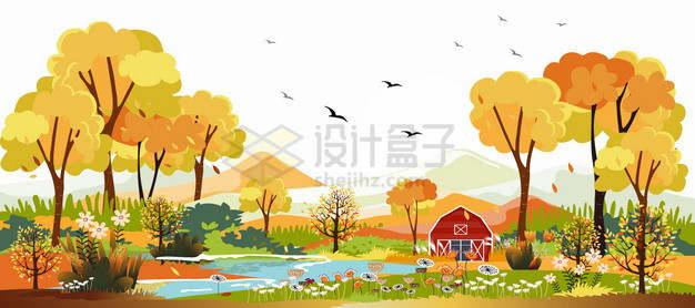 秋天黄色的树木和草地小溪等风景插画png图片素材
