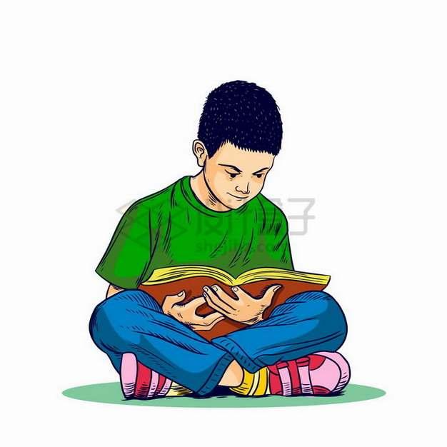 盘坐在地上认真看书读书的小男孩png图片免抠矢量素材
