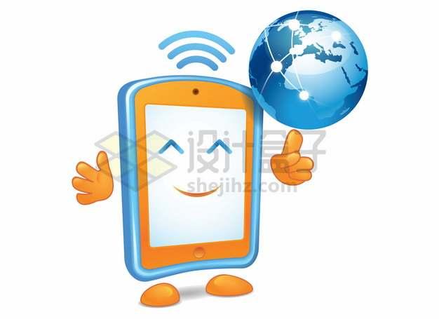 卡通手机和地球无线电信信号应用png图片素材