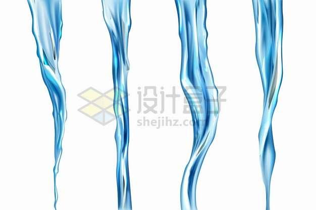 4款蓝色水流效果倒水效果液体效果png图片素材