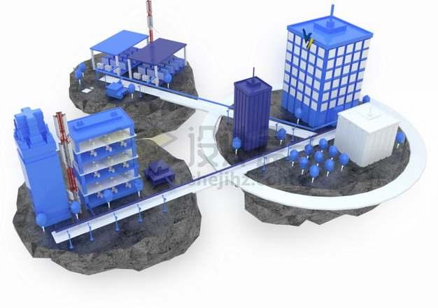 紫色3D悬空岛上的城市建筑png图片素材
