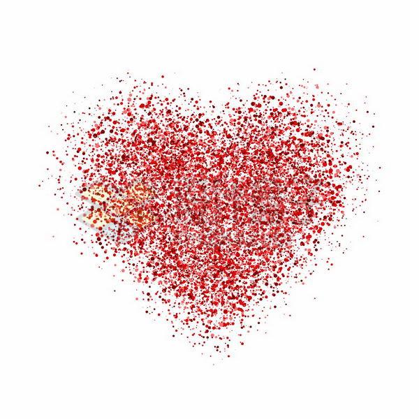 红色圆点组成的心形图案情人节红心png图片免抠矢量素材 装饰素材-第1张
