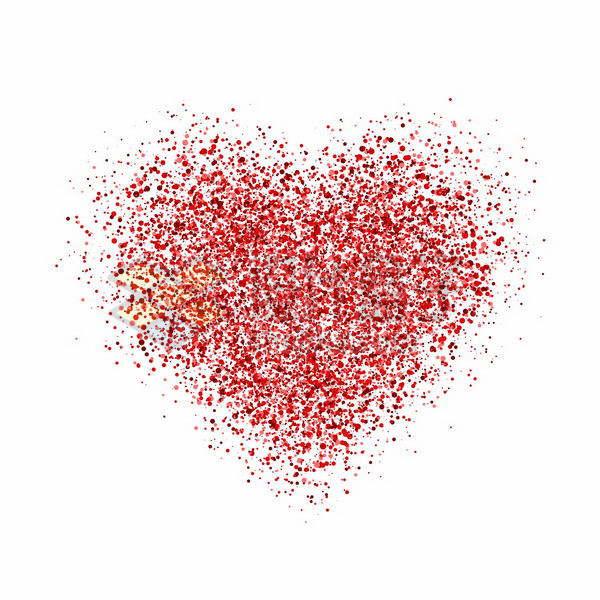 红色圆点组成的心形图案情人节红心png图片免抠矢量素材