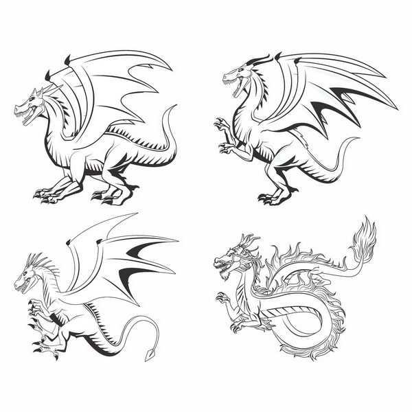 各种黑色线条手绘风格西方长翅膀的飞龙和中国龙png图片免抠矢量素材