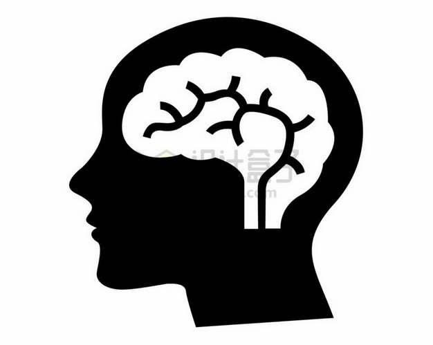 黑色人体头部剪影和里面的大脑图案png图片素材