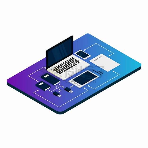 彩色面板上的笔记本电脑平板电脑手机等相连的设备png图片素材