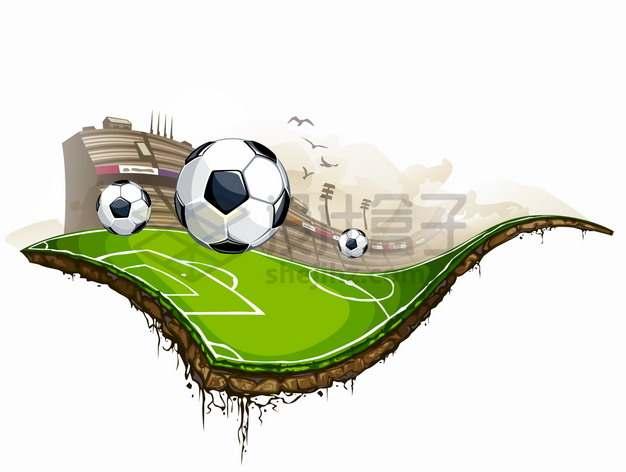 扭曲的足球场体育馆抽象插画png图片素材
