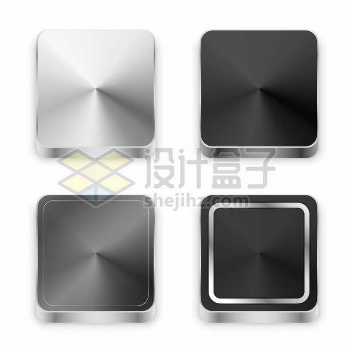 4个银色黑色金属光泽拉丝纹理方形按钮png图片素材