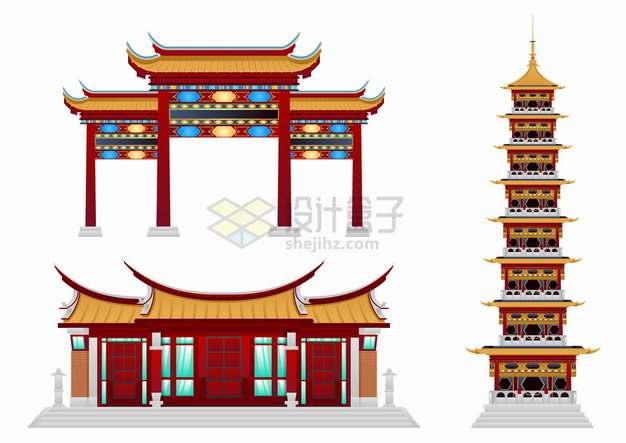 牌楼牌坊宝塔中国传统建筑png图片素材