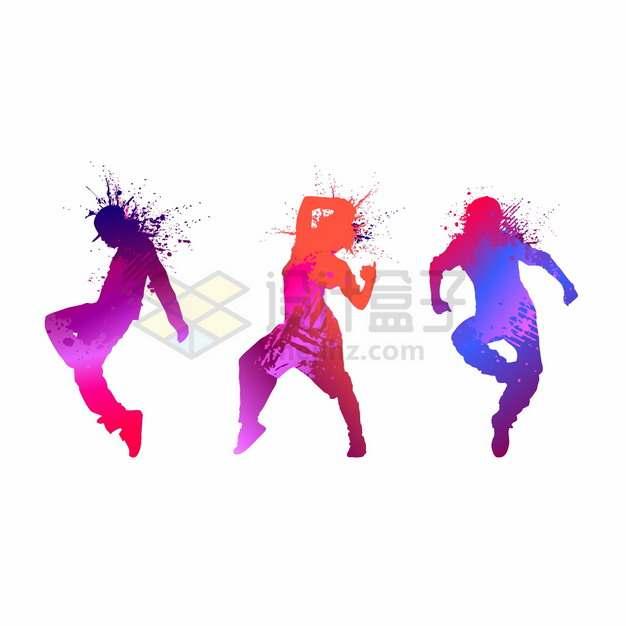 彩色泼墨风格3个跳街舞的年轻人剪影png图片素材