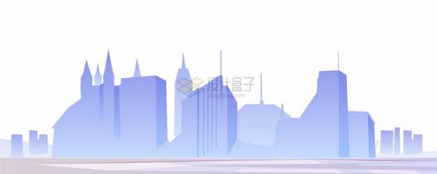 紫色的城市高楼大厦建筑天际线剪影png图片素材