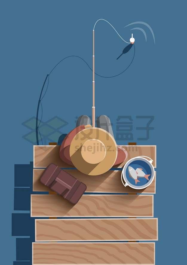俯视视角坐在木头码头上钓鱼png图片素材