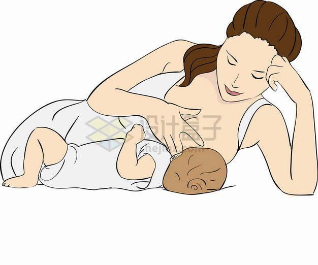 哺乳期喂奶的妈妈全国母乳喂养宣传日彩色插画4828120png图片素材
